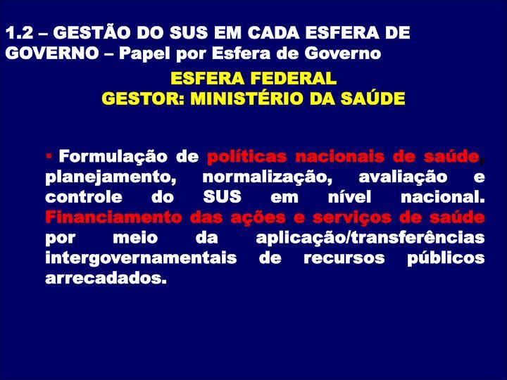 1.2 – GESTÃO DO SUS EM CADA ESFERA DE GOVERNO –