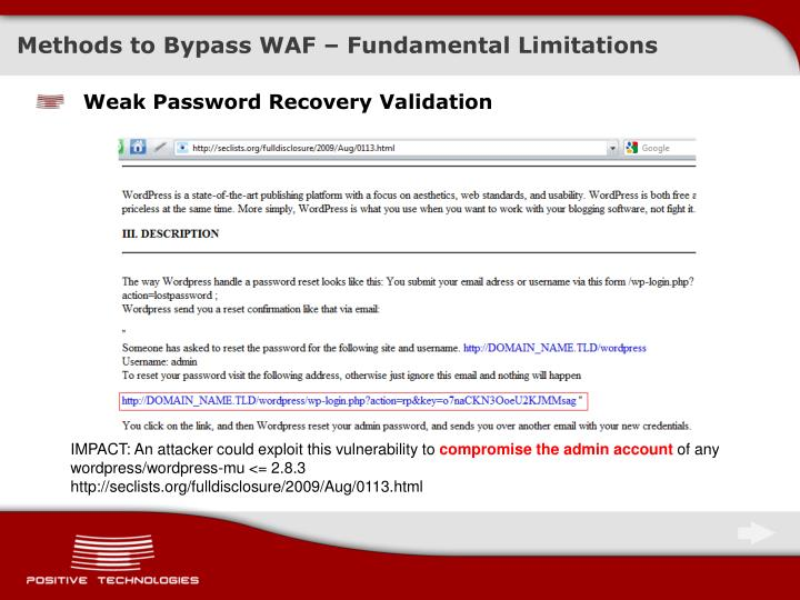Methods to Bypass WAF – Fundamental Limitations