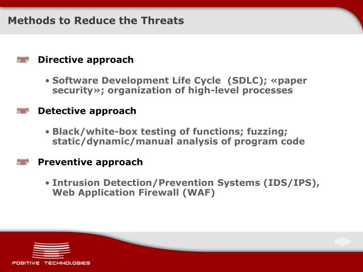 Methods to Reduce the Threats