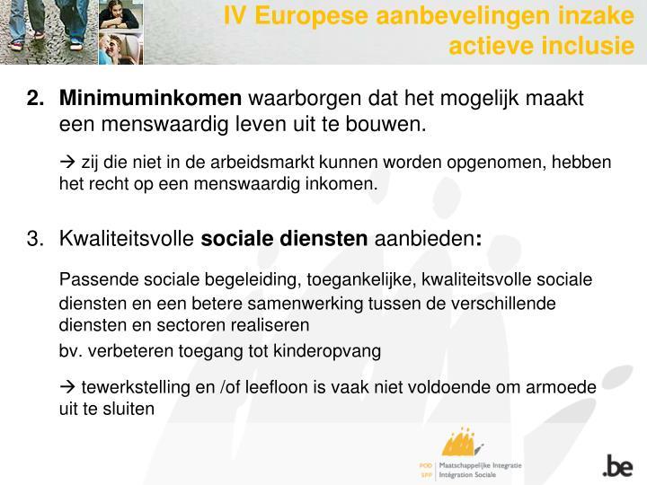 IV Europese aanbevelingen inzake