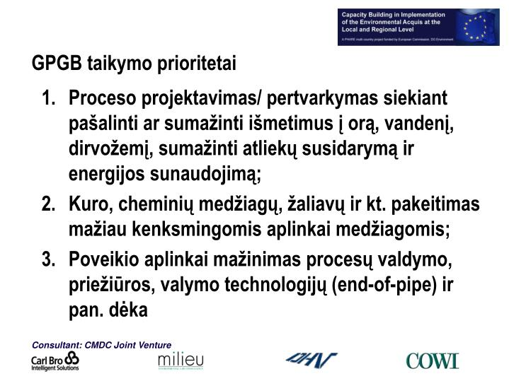 GPGB taikymo prioritetai
