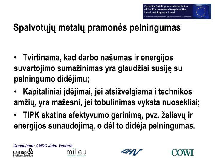 Spalvotųjų metalų pramonės pelningumas