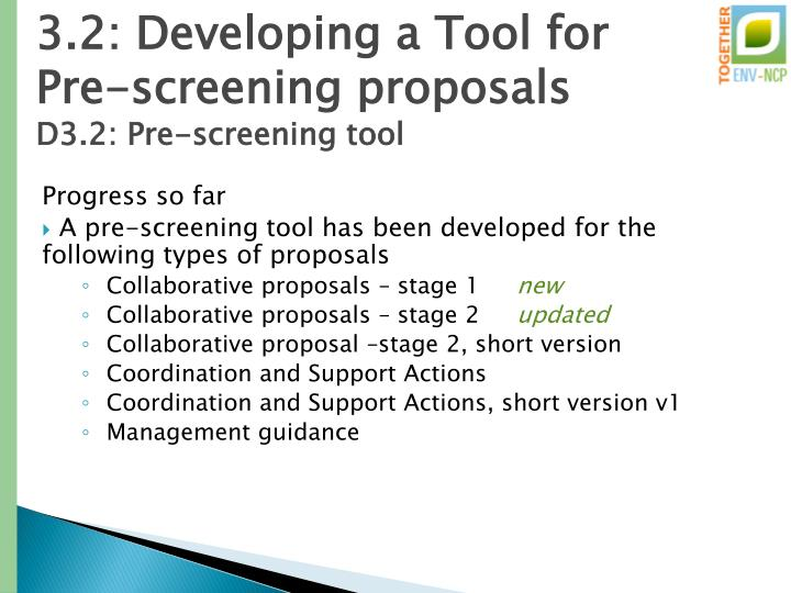 3.2: Developing a Tool for Pre-screening proposals