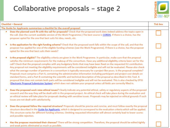 Collaborative proposals – stage 2