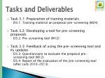 tasks and deliverables