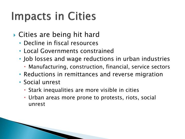 Impacts in cities