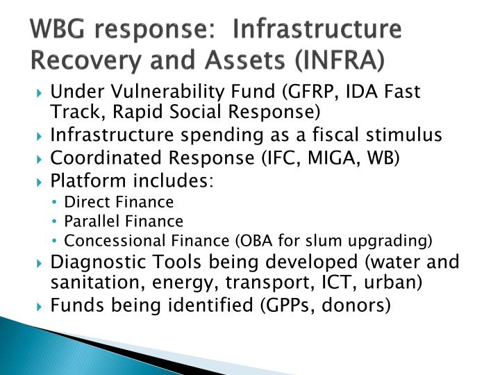 WBG response:  Infrastructure Recovery and Assets (INFRA)