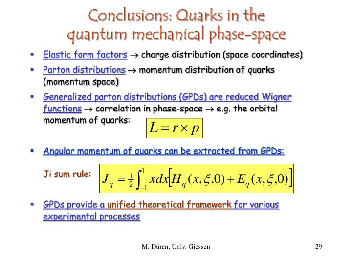 Conclusions: Quarks in the
