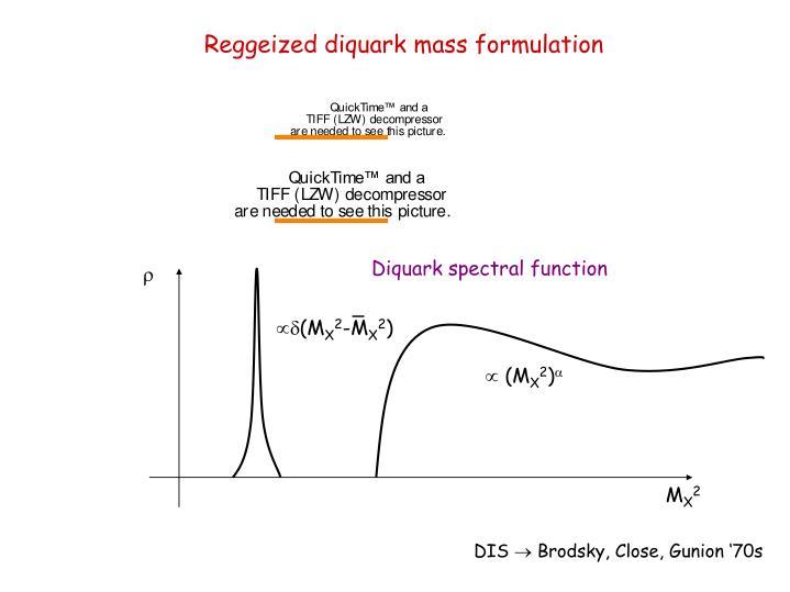 Reggeized diquark mass formulation