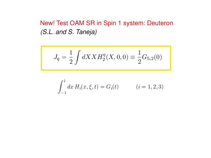 New! Test OAM SR in Spin 1 system: Deuteron