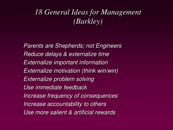 18 General Ideas for Management
