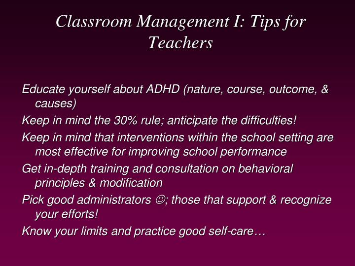 Classroom Management I: Tips for Teachers