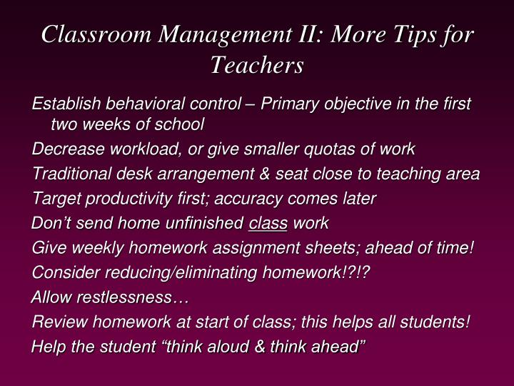 Classroom Management II: More Tips for Teachers