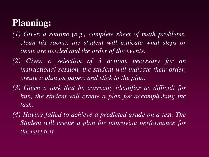 Planning: