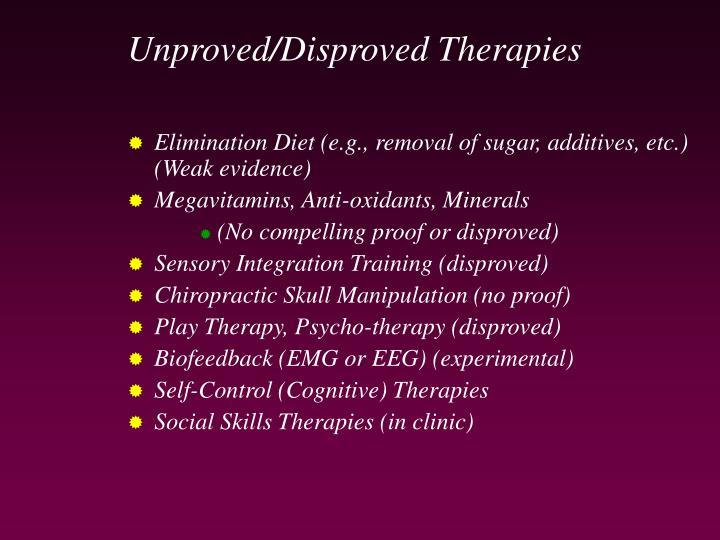 Unproved/Disproved Therapies