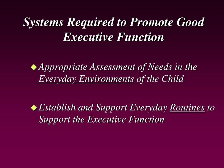 Systems Required to Promote Good Executive Function