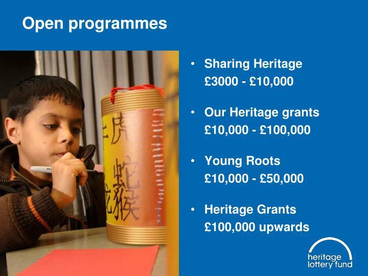 Open programmes