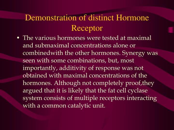 Demonstration of distinct Hormone Receptor