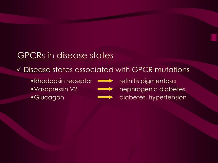 GPCRs in disease states