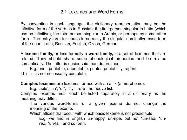 2 1 lexemes and word forms