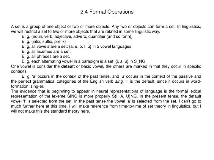 2.4 Formal Operations