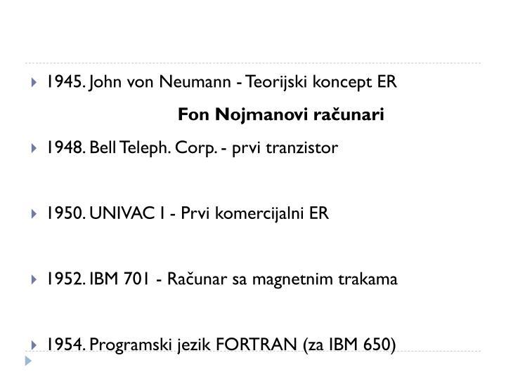 1945. John von Neumann - Teorijski koncept ER