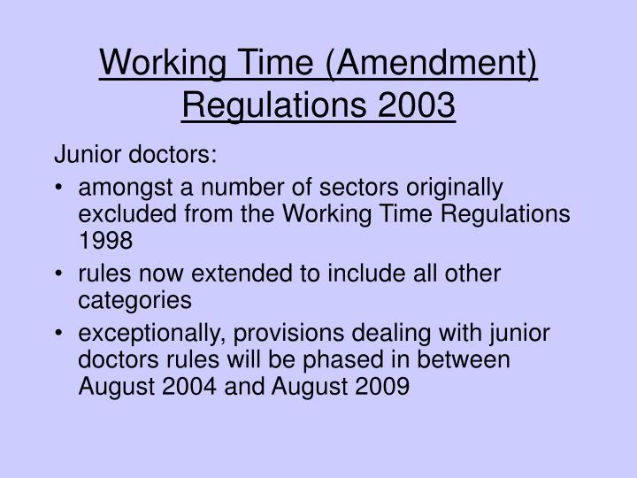 Working Time (Amendment) Regulations 2003