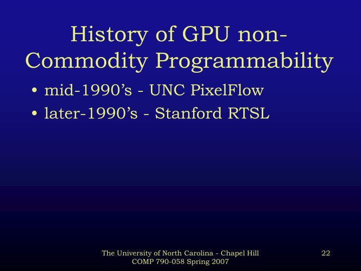 History of GPU non-Commodity Programmability