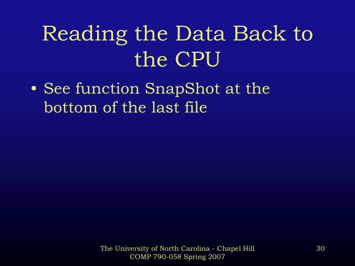 Reading the Data Back to the CPU