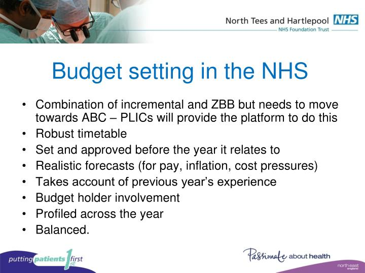 Budget setting in the NHS
