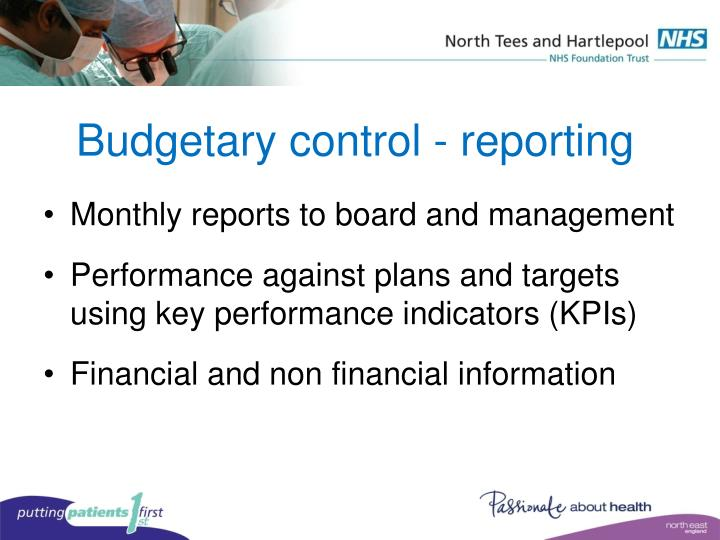 Budgetary control - reporting