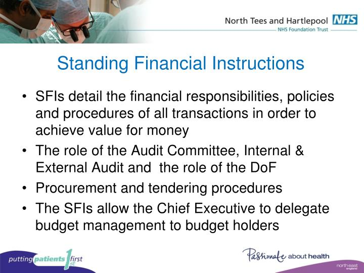 Standing Financial Instructions