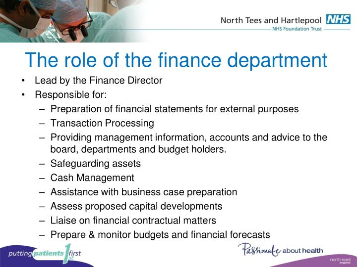 The role of the finance department
