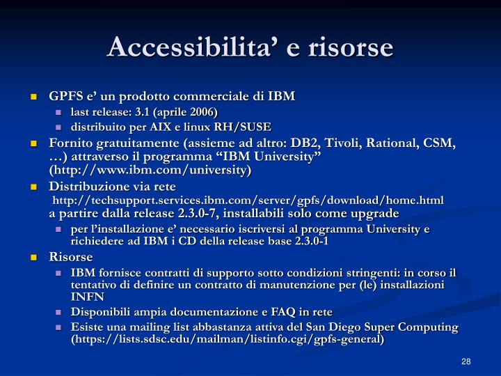 Accessibilita' e risorse
