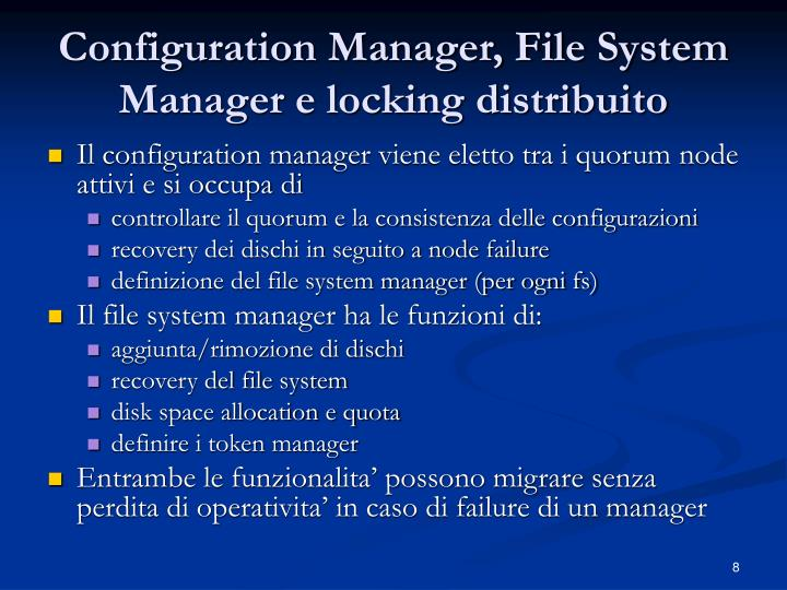 Configuration Manager, File System Manager e locking distribuito