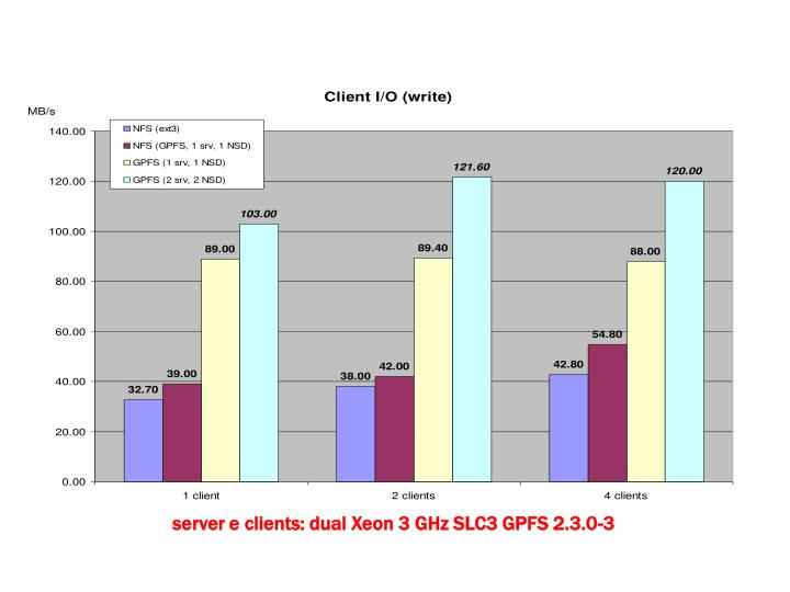 server e clients: dual Xeon 3 GHz SLC3 GPFS 2.3.0-3