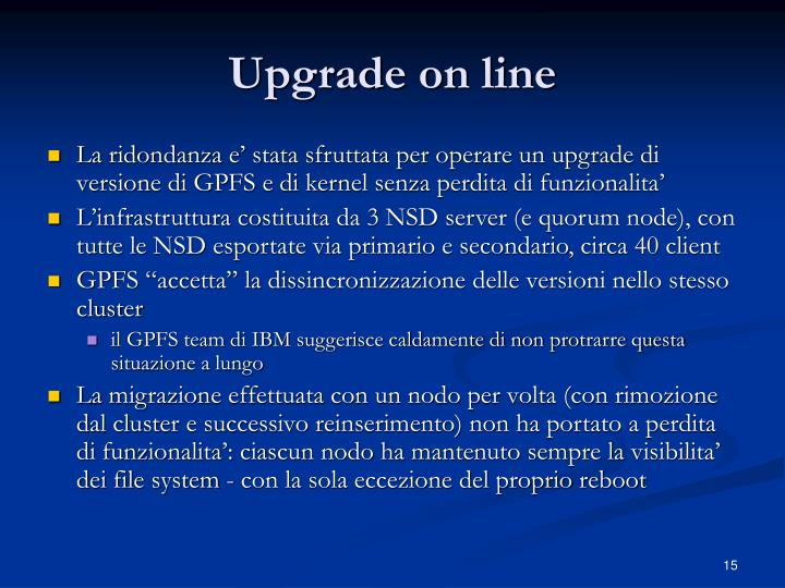 Upgrade on line