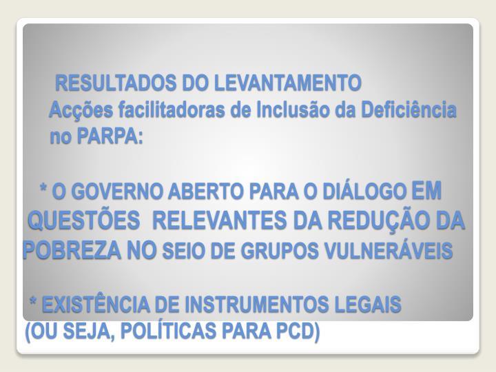RESULTADOS DO LEVANTAMENTO