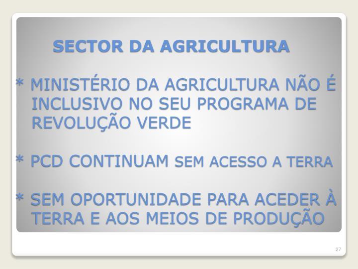 SECTOR DA AGRICULTURA