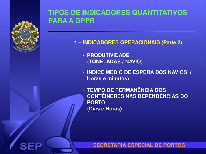 TIPOS DE INDICADORES QUANTITATIVOS