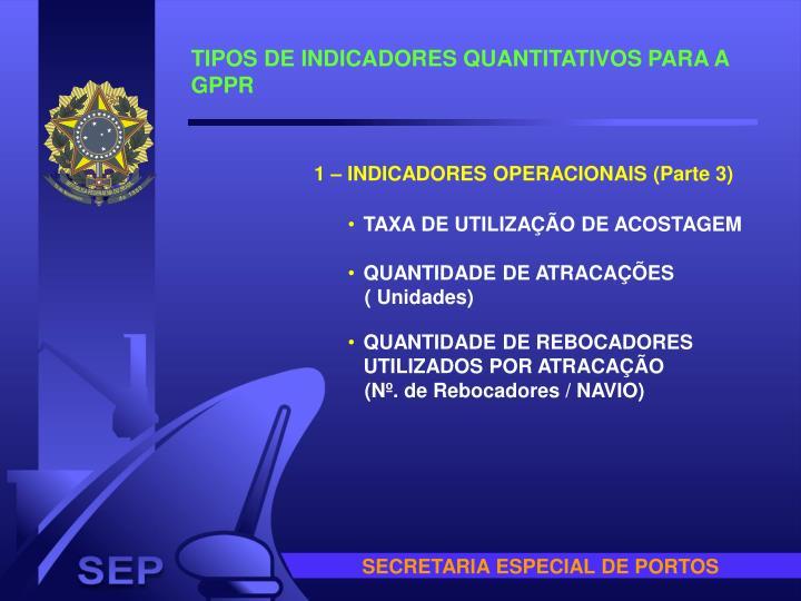 TIPOS DE INDICADORES QUANTITATIVOS PARA A