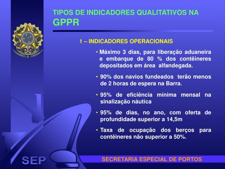TIPOS DE INDICADORES QUALITATIVOS NA