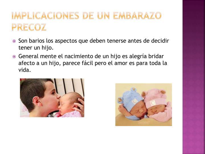 Implicaciones de un embarazo precoz