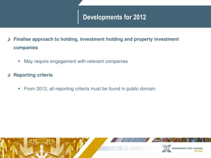 Developments for 2012