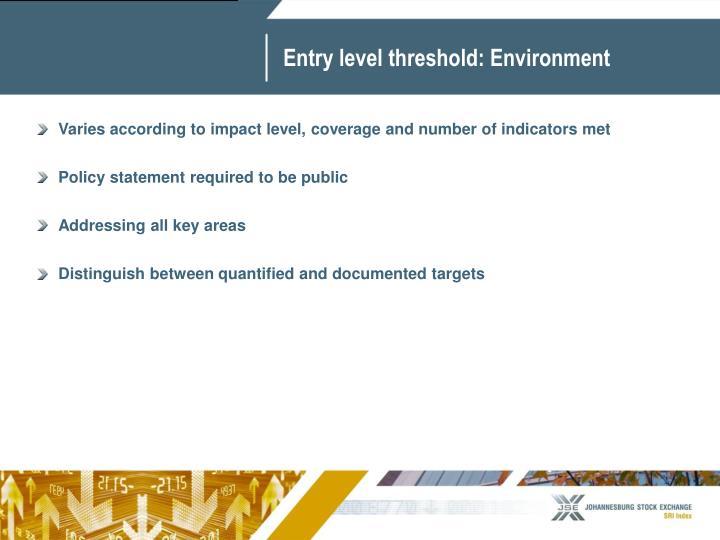 Entry level threshold: Environment