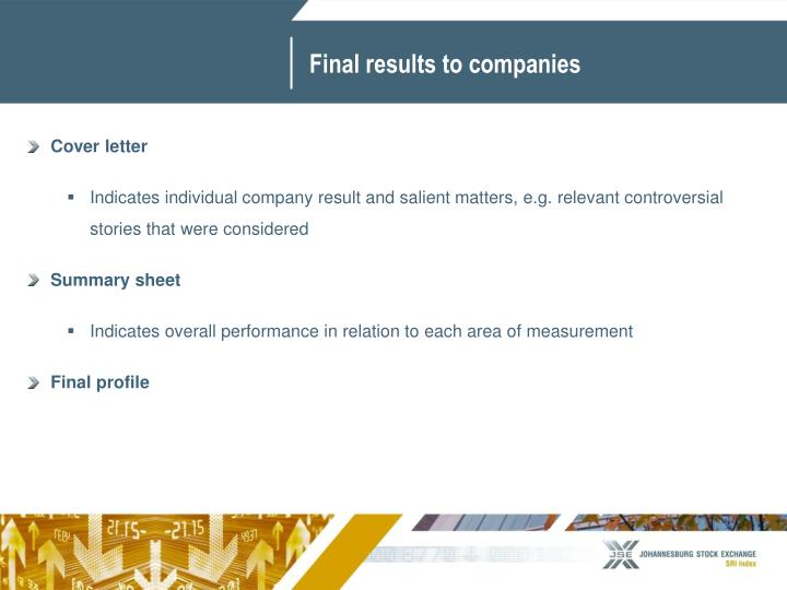 Final results to companies