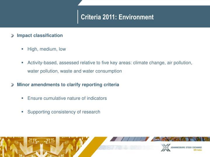 Criteria 2011: Environment
