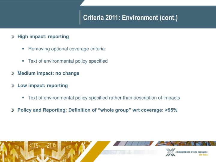 Criteria 2011: Environment (cont.)