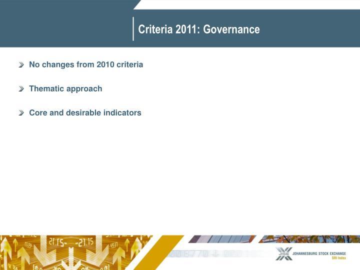 Criteria 2011: Governance
