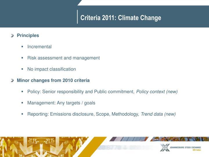Criteria 2011: Climate Change